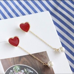 Jewelry - ♥️ 2-in-1 Heart Pearl Earrings
